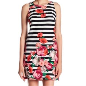 Eliza J Striped Floral Sleeveless Sheath Dress